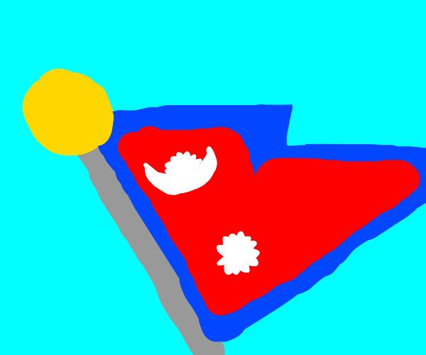 Nepali Flag on pole