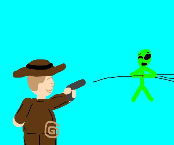 Indiana Jones shooting an alien