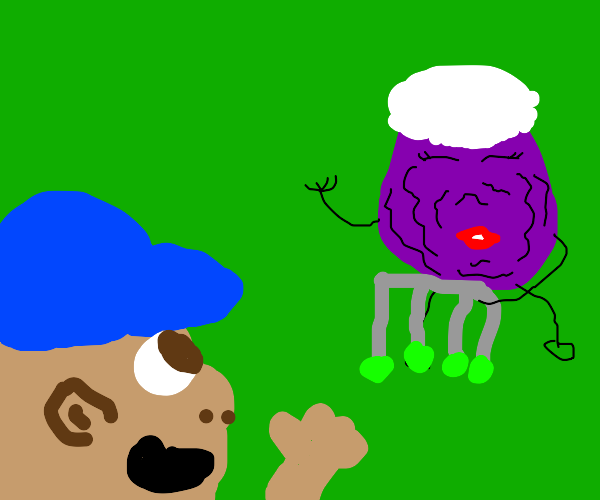Old Purple Raisin Greets Guy with a hat