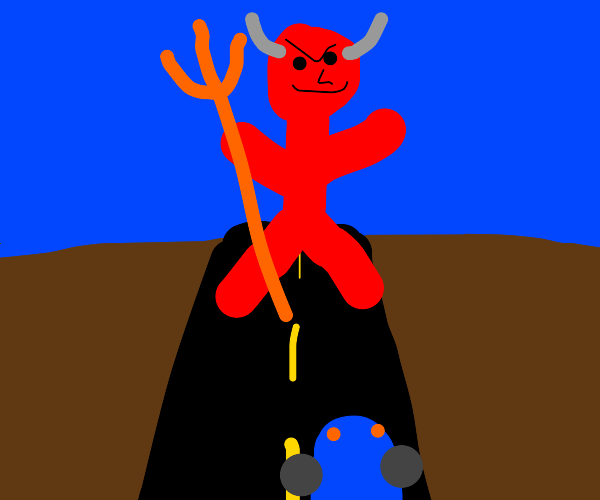 Huge demon stopping people from road