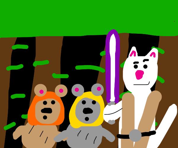 jedi cat protects the ewoks