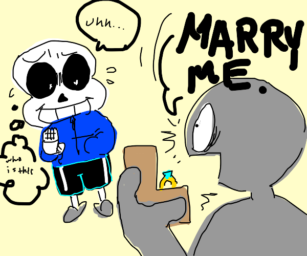 Sans doesn't know how to feel about proposal.