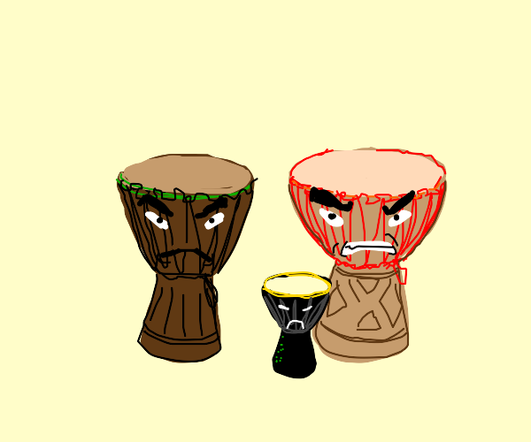 Angry djembes (drums)