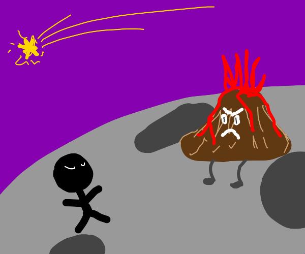 giant stickman vs volcano in space
