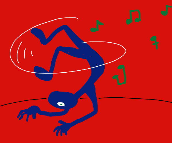 A stickman dancing breakdance over his head