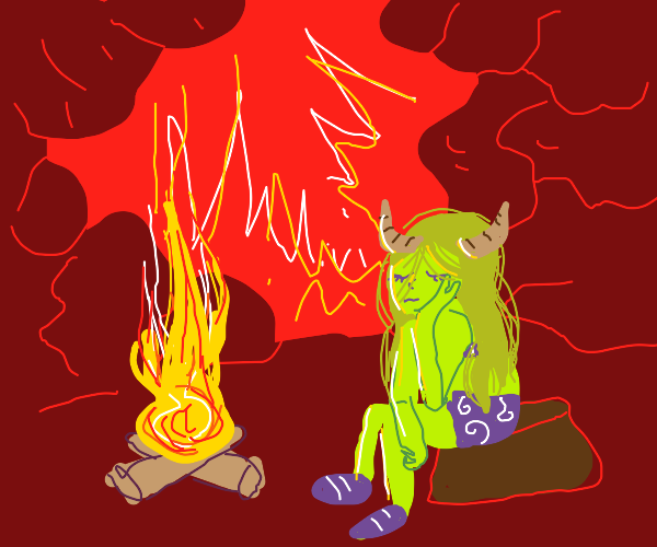 a demon camping out in hell