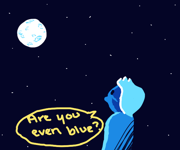 Guy isn't sure if the moon is blue or not