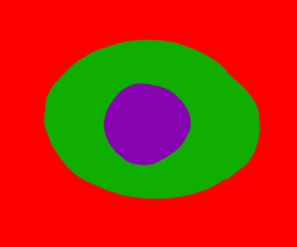 Purple in green on red