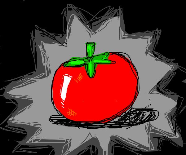 a shiny red tomato