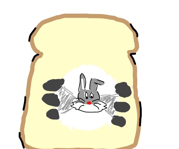 bugs bunny inside a piece of bread
