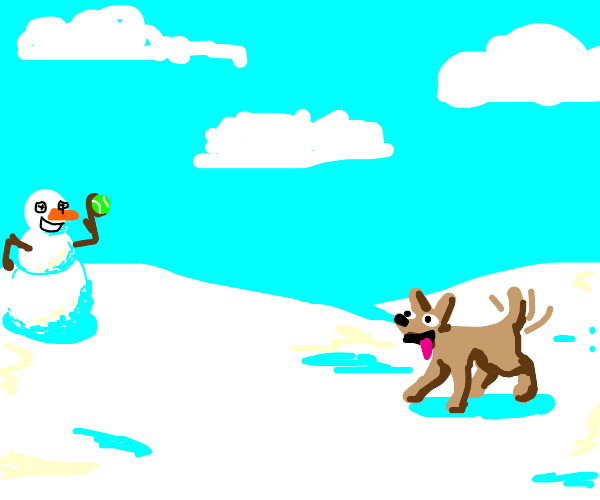 Snowman plays fetch with dog