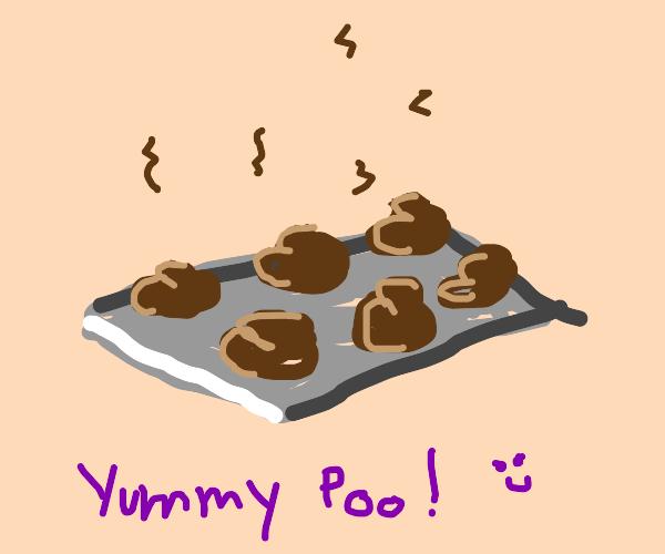 tray of cookie with pooooooo