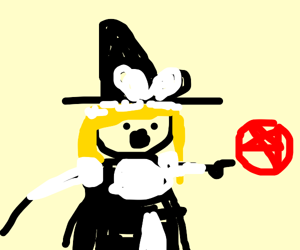 witch pointing at a red pentagram