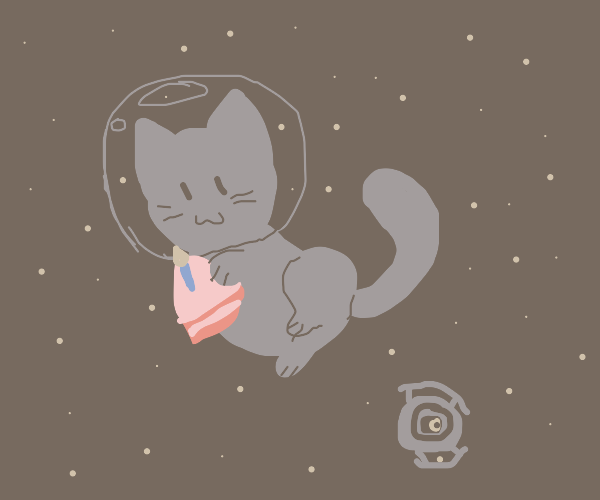 Cat in space with cake