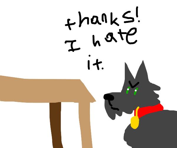 Doggo hates tables