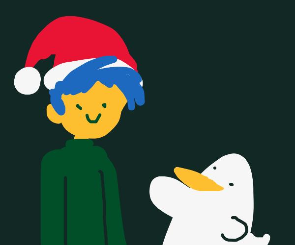 Duck points gun at man with Santa hat