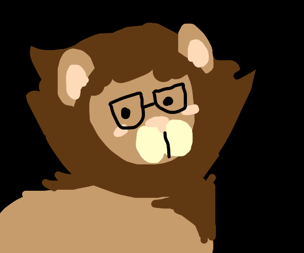 Kawai lion with glasses