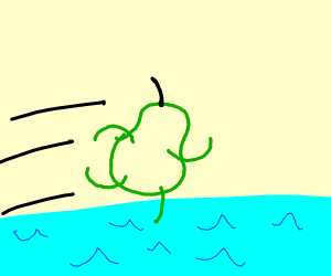 Pear running on water with the power of Sonic