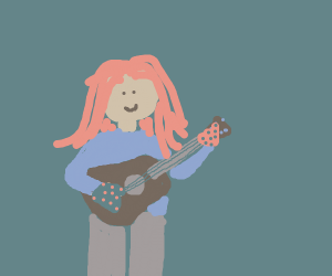 Redhead with gloves carrying a guitar