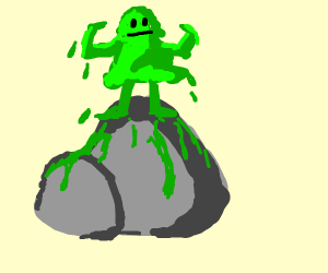 Green slime standing on rock, that's on fire