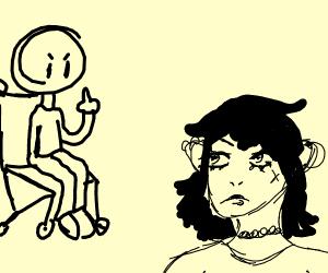 handicapped kid gives emo girl the finger
