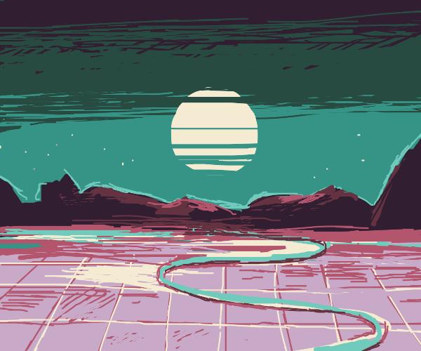 Retro Synth Mountain Landscape