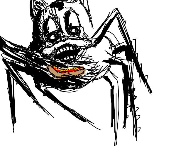 Spidercat eating hotdog