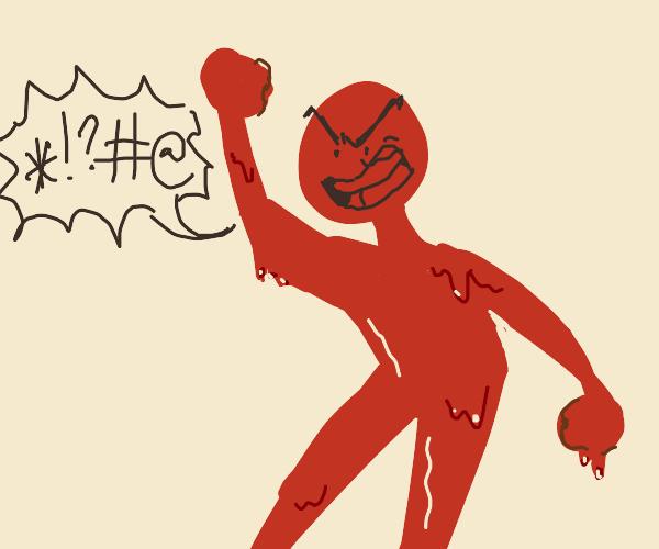 red goop man is very peeved