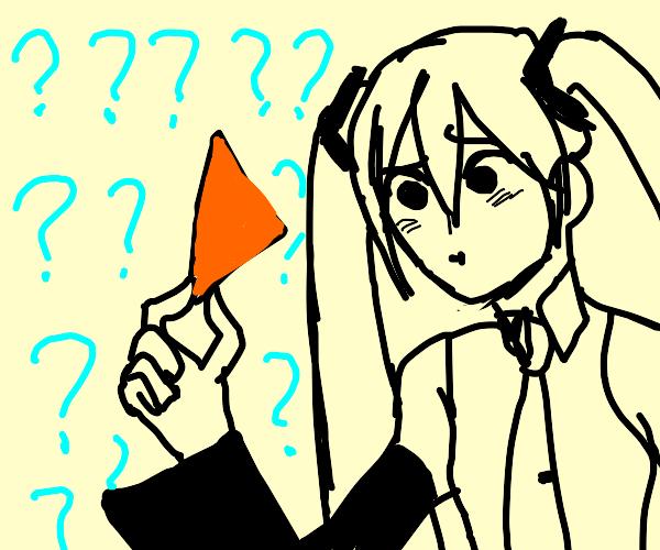 Hatsune Miku confused by dorito