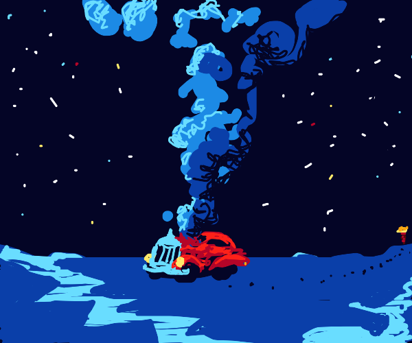 car with blue smoke on a different planet