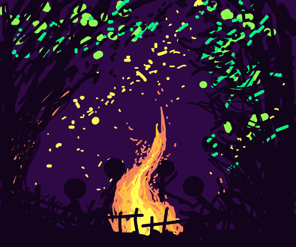 Stick folk around fire pit