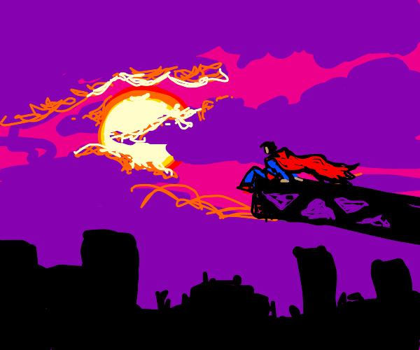 superman watching the sunset