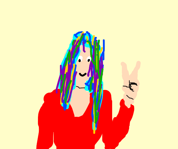 Girl with colorful hair gives peace sign