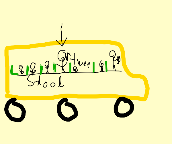 boy whistling in school bus