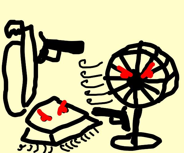 violent gun war: vacuum vs fan