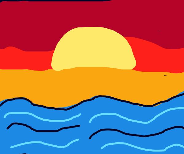 dramatic sunset over lake