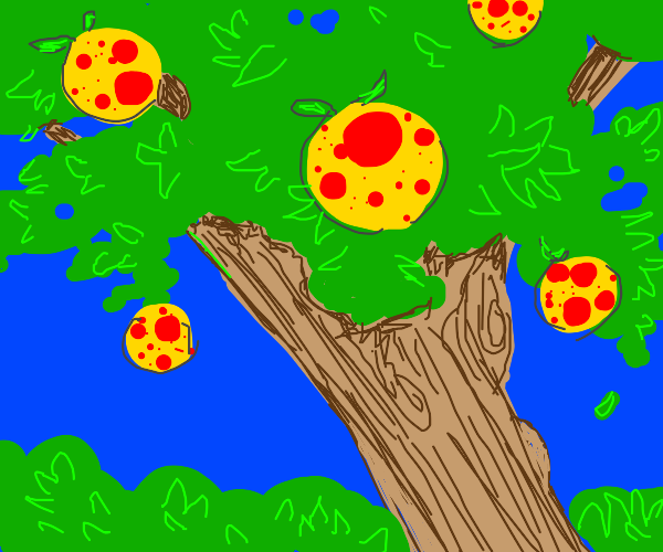 Large tree with yellow fruit with red spots