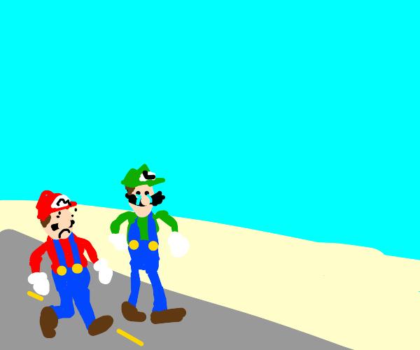 Mario and Luigi cross the desert
