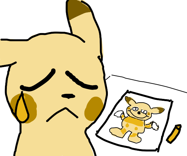 pikachu try to draw self portrait but failed