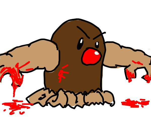 A digglet with blood and arms