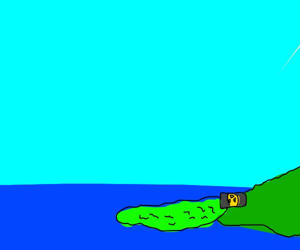 green goo spills into the ocean