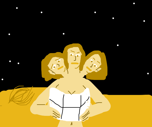 girl with three heads in the desert