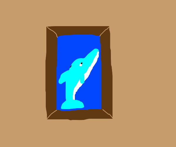 A framed picture of a blue dolphin