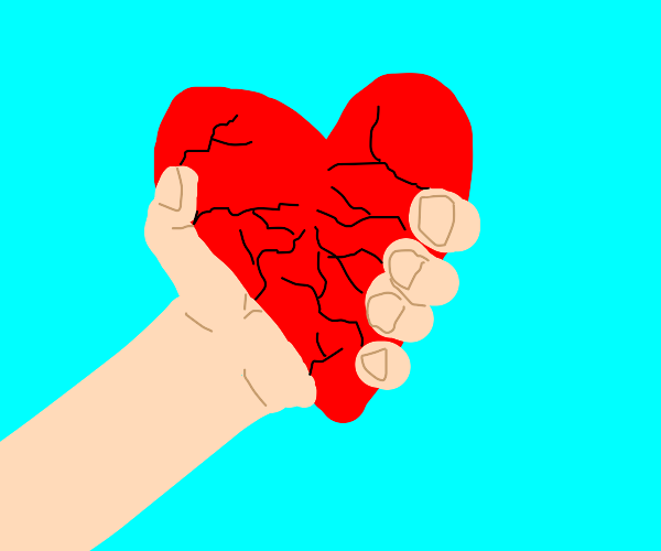 A man grabbing and crushing heart