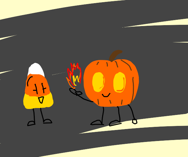 Candy corn and pumpkin with legs