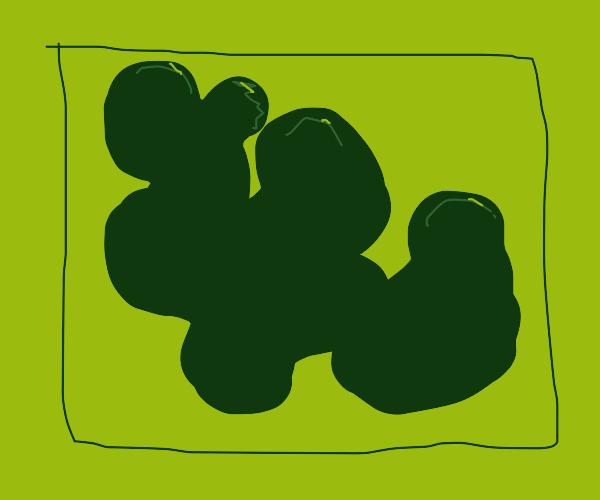 lightgreen rectangle holding darkgreen blob