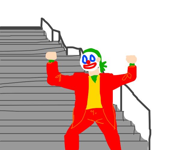 joker dancing down the stairs