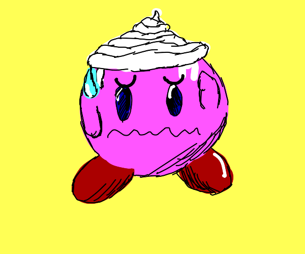 Kirby covered in icing (I hope)