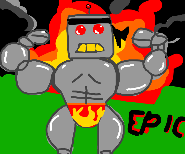 Buff robot man stands in front of explosion