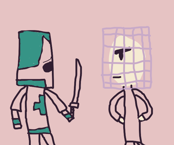 Blue knight worry's about man w cage on face